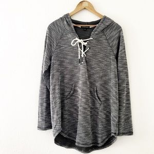 Tops - Oversized Gray & White Hooded Tunic Top